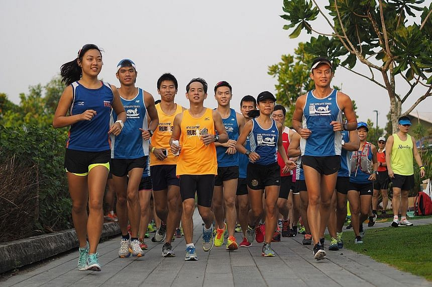More than 50 runners rose bright and early yesterday to take part in the second training run ahead of The Straits Times Run in the City 2016 on May 22. Participants who signed up for the 18.45km route were taken on a 12km run along the Punggol Serang
