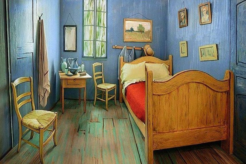 The Bedroom (left) is one of Vincent van Gogh's most recognisable works of art. A group of local artists helped to recreate, in painstaking detail, the simple wooden furniture and rich colours of The Bedroom in a modern Chicago apartment (below) for