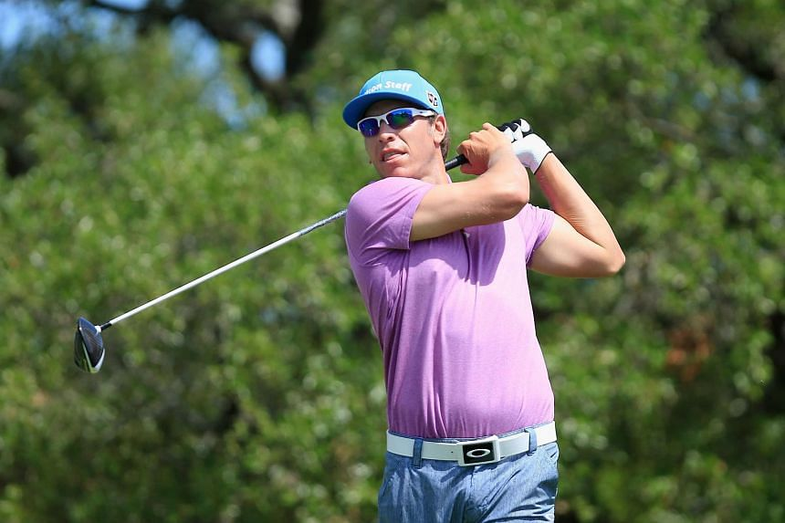 Ricky Barnes tees off on the second hole during the third round of the Valero Texas Open.