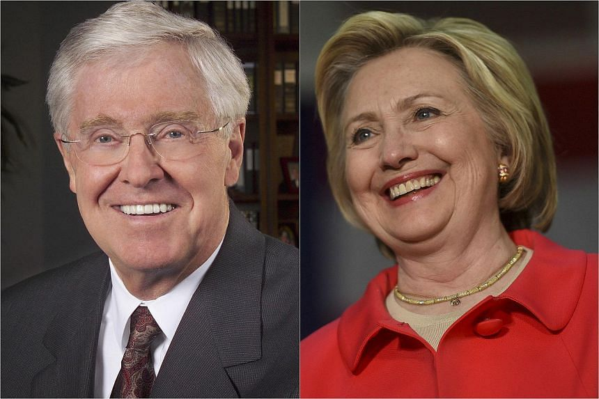 Billionaire industrialist Charles Koch (left) and US Democratic presidential candidate Hillary Clinton.