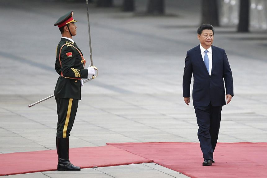 China's President Xi Jinping attending a welcoming ceremony outside the Great Hall of the People in Beijing, China, on Oct 14, 2015.