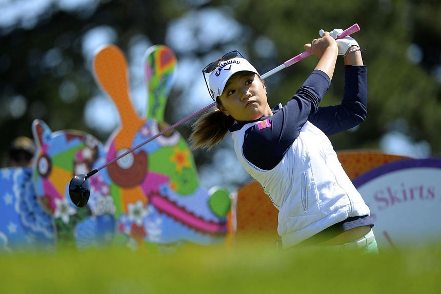 New Zealand's Lydia Ko makes a tee shot at the Swinging Skirts LPGA Classic in California, on April 23, 2016.