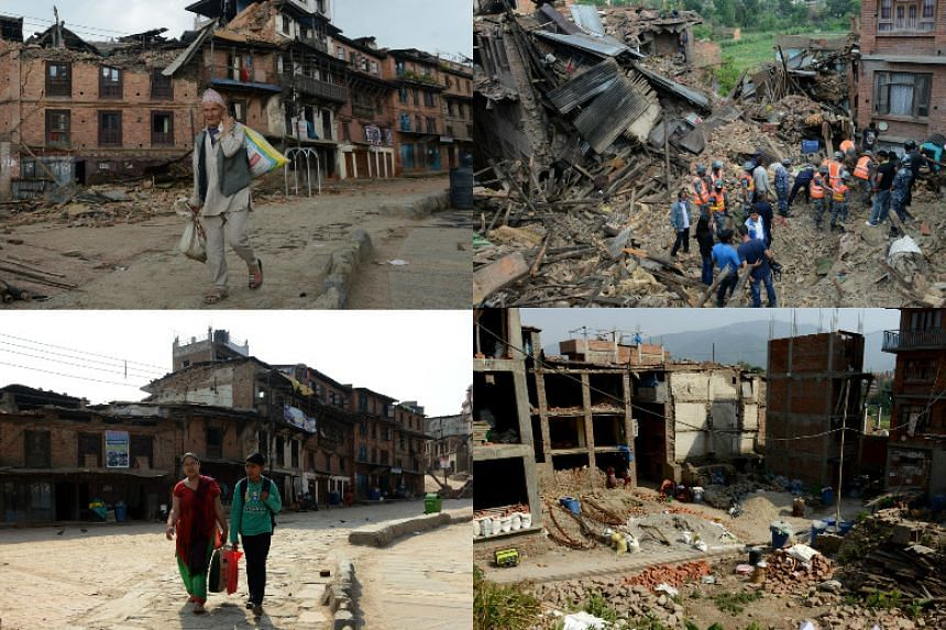 (Left) A Nepalese man walking amidst the rubble of collapsed houses after an earthquake in Bhaktapur on April 27, 2015 (top) and the same scene on April 22, 2016. (Right) Rescue personnel searching for survivors after an earthquake in Bhaktapur on Ap