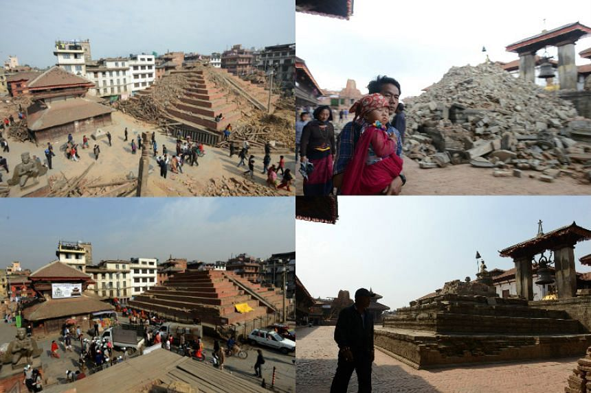 (Left) Pedestrians walking by earthquake-damaged buildings in Durbar Square in Kathmandu on April 28, 2015 (top) and the same scene on April 23, 2016. (Right) People walking through the ruins of Bhaktapur's Durbar Square following an earthquake on th