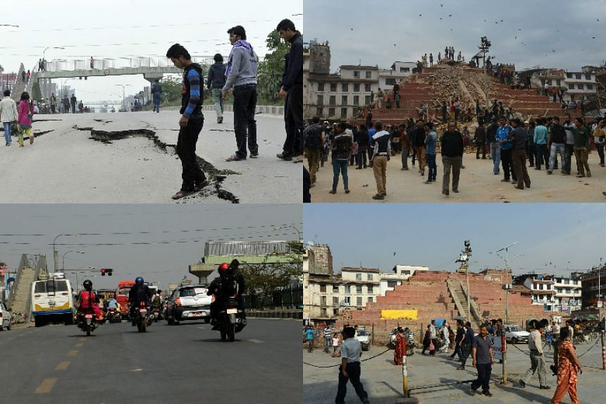 (Left) Nepalese residents walking past road damage following an earthquake in Kathmandu on April 26, 2015 (top) and the same scene on April 22, 2016. (Right) Pedestrians walking by earthquake-damaged buildings in Durbar Square in Kathmandu on April 2