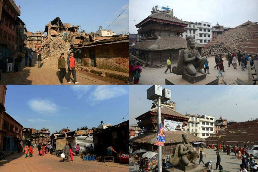 (Left) Nepalese residents walking amidst the rubble of collapsed houses after an earthquake in Bhaktapur on April 27, 2015 (top) and the same scene on April 22, 2016. (Right) Nepalese residents walking beside buildings severely damaged by an earthqua