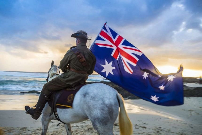 A member of the Light Horse brigade takes part in the Anzac Day dawn service held by the Currumbin RSL at Currumbin Surf Life Saving Club on the Gold Coast in Currumbin, Australia on April 25, 2016.