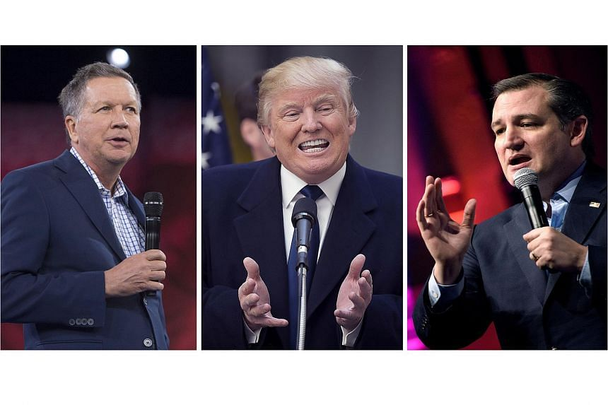 Billionaire Donald Trump (centre) has criticised his Republican rivals Ted Cruz (right) and John Kasich (left) for trying to work together to block him from winning the nomination.
