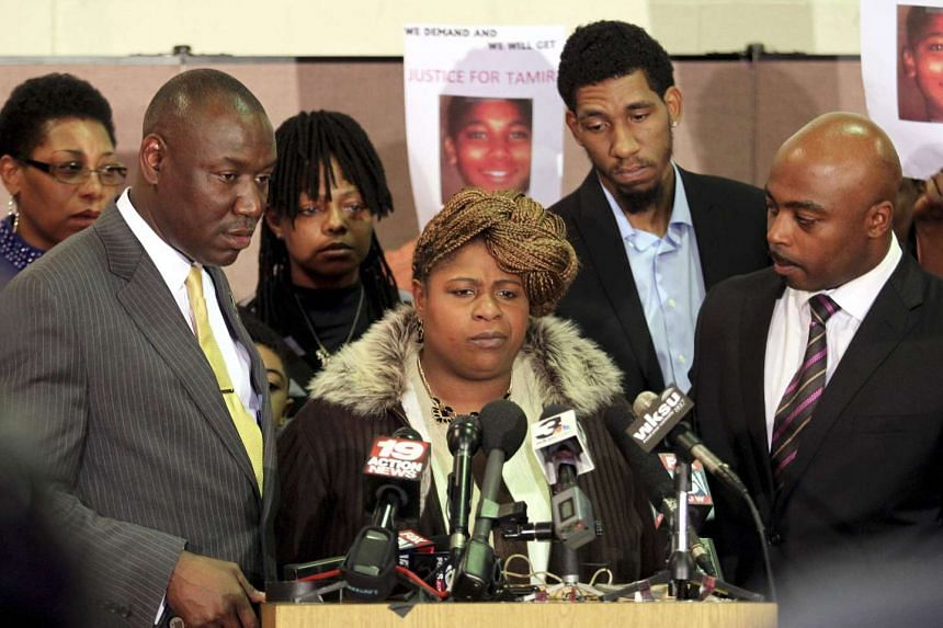 Samaria Rice (centre), the mother of Tamir Rice, speaks at a news conference at the Olivet Baptist Church in Cleveland, on Dec 8, 2014.
