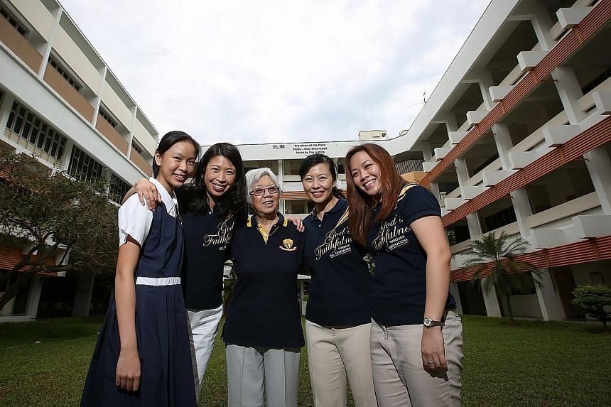 All along, PLMGS has upheld the importance of values such as honesty and selflessness in building a student's character, says its longest-serving principal, Mrs Winnie Tan (centre), who was at the helm from 1972 to 1997. Keen to carry on this traditi