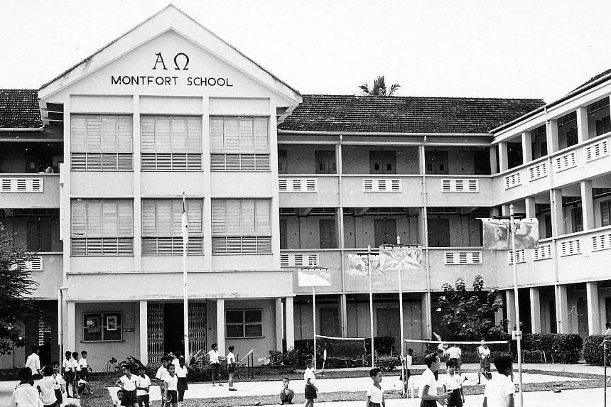 Montfort School in the early 1970s, before it split into the present Montfort Junior School and Montfort Secondary School in 1974.