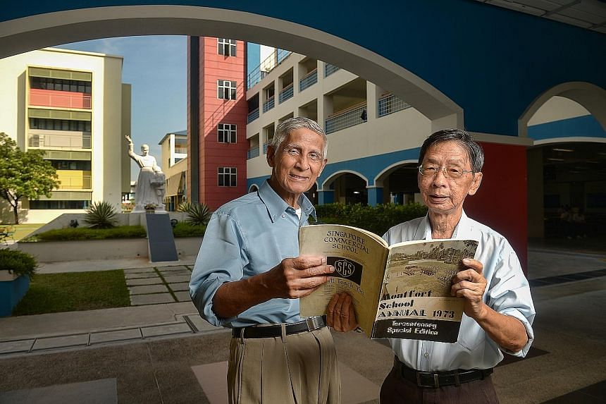 English teacher Edmund James (left) and senior lab technician Lim Bak Po are both old boys of Montfort who have returned to their alma mater. Mr James has taught at Montfort Secondary for nearly 30 years and says he still feels attached to the school