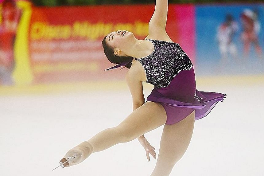 Chloe Ing performs her routine at the Singapore National Figure Skating Championship. She came first in the senior ladies' free skate category and also picked up the Ice Angels Artistic Trophy for her routine accompanied by a medley of Chopin's compo