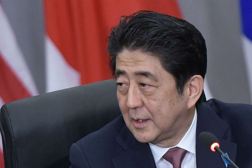 Japan's Prime Minister Shinzo Abe (pictured) speaking during a trilateral meeting with US President Barack Obama and and South Korea's President Park Geun Hye on March 31, 2016.