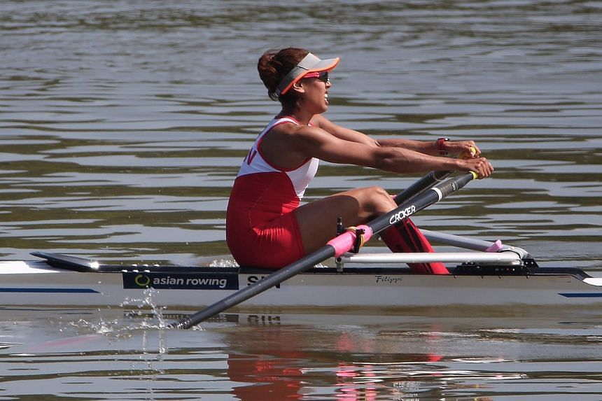 Saiyidah Aisyah competes in the 17th Asian Games Incheon 2014 Lightweight Women's Single Sculls Final A event.