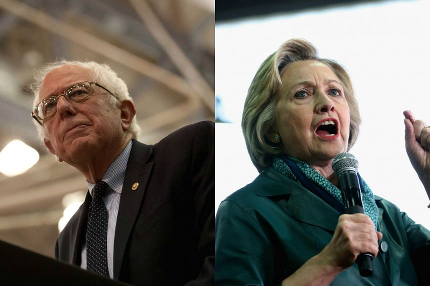 US Democratic presidential candidate Bernie Sanders (left) and rival Democratic frontrunner Hillary Clinton.