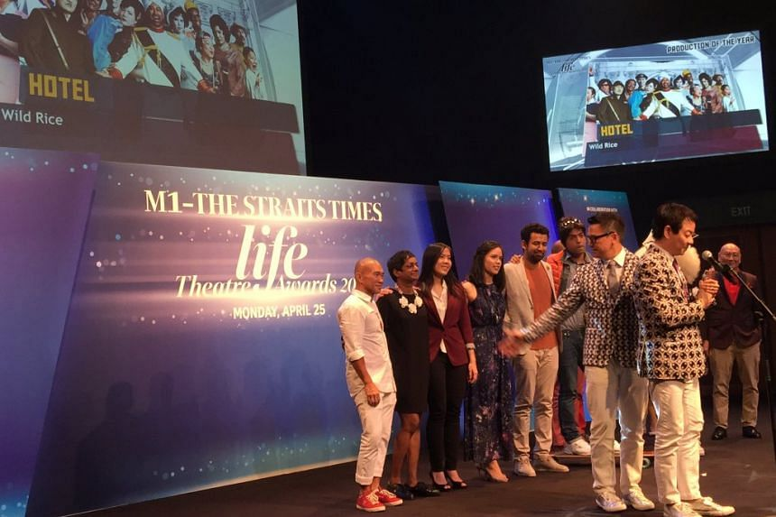 Wild Rice's Hotel was the big winner of the the M1-The Straits Times Life Theatre Awards on Monday (April 25), bagging four awards including Production Of The Year.