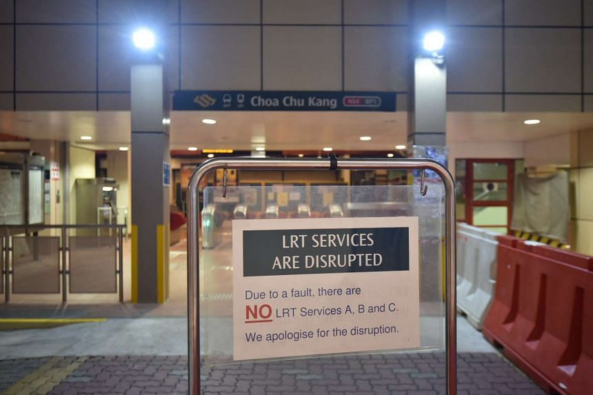 Signage at Choa Chu Kang LRT saying that train services are interrupted.