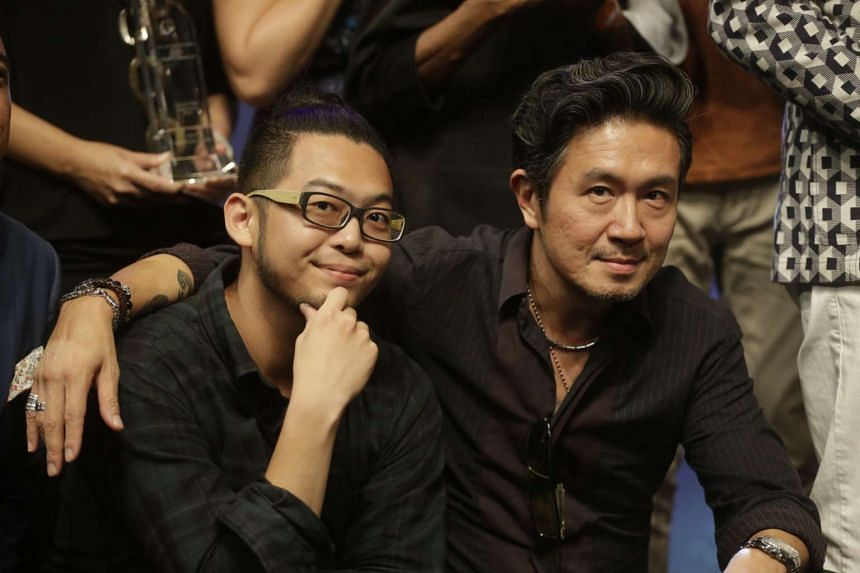 Best Supporting Actor Benjamin Chow (left) and Best Actor Adrian Pang (right) won for their roles in The LKY Musical at the M1-The Straits Times Life! Theatre Awards 2016 on April 25, 2016.