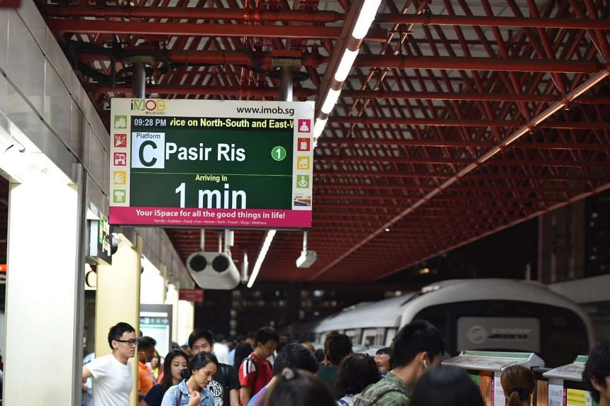 A TV monitor indicating that services in the East-West Line has resumed.
