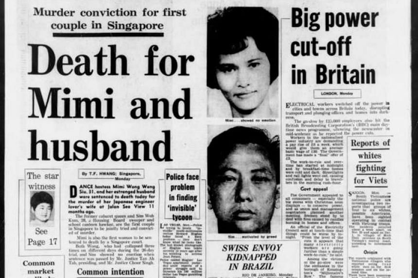 After a 26-day trial, Mimi Wong Weng Siu became the first woman to be sent to the gallows after Singapore's independence. She was hanged on the morning of July 27, 1973, along with her sweeper husband.
