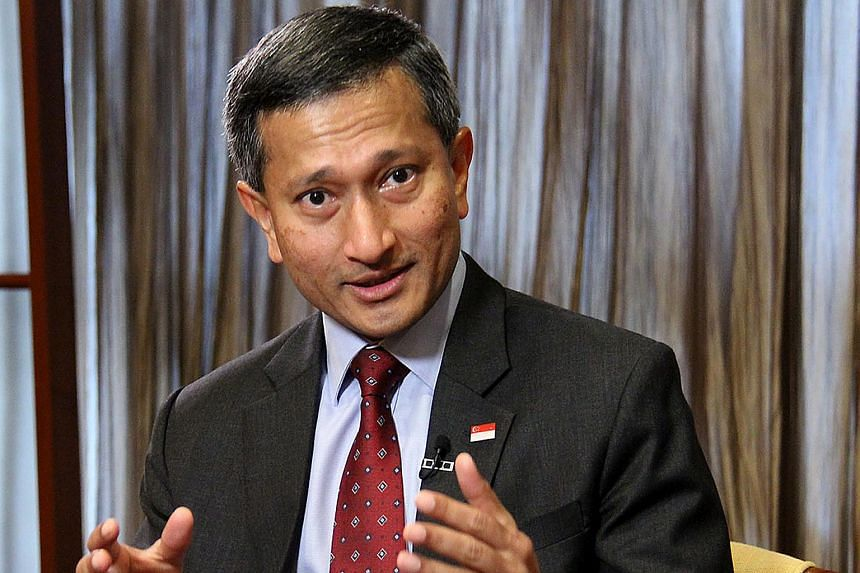 Singapore Foreign Minister Vivian Balakrishnan speaking to the media at Ministry of Foreign Affairs.