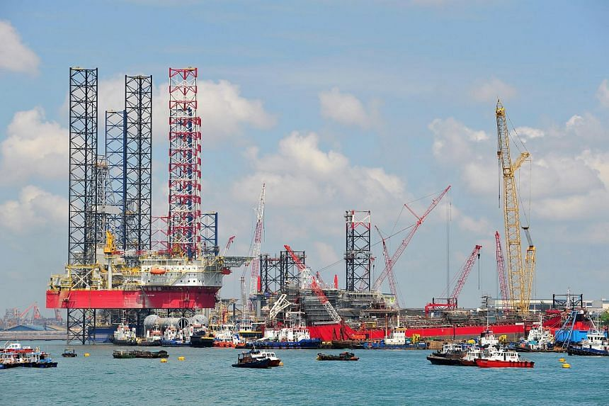 An oil rig at SembCorp Marine PPL shipyard, off the coast near Pandan Industrial Estate.