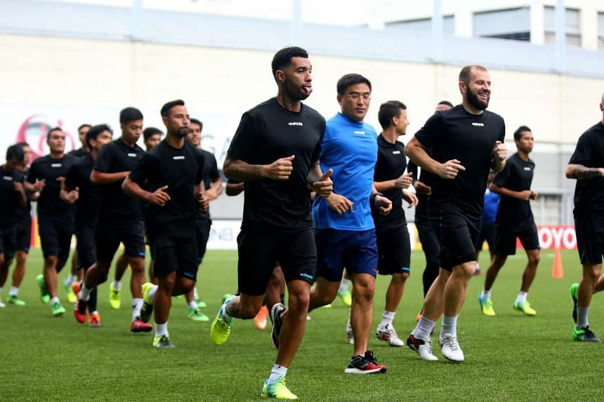 Jermaine Pennant (centre) and the Tampines Rovers squad in a training session at Jalan Besar Stadium on  March 14, 2016.