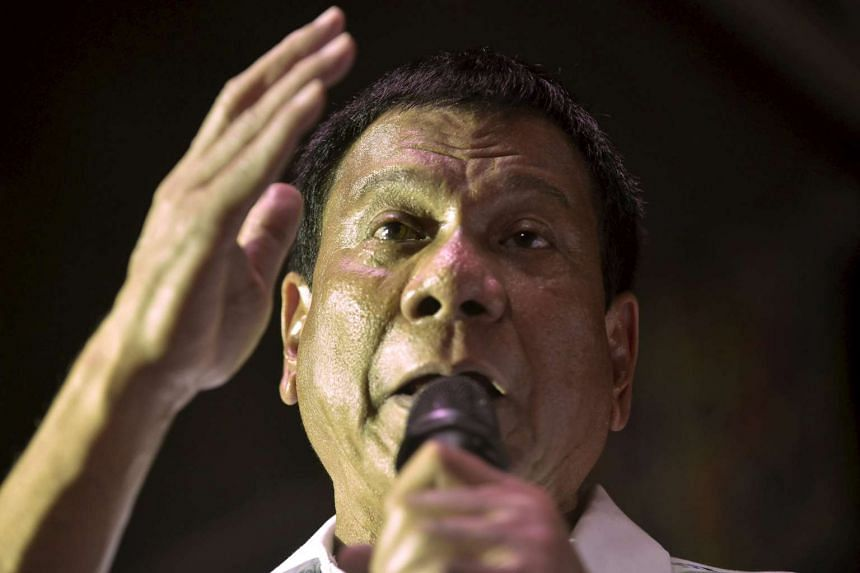 Philippine presidential candidate Rodrigo 'Digong' Duterte speaks during a campaign rally in Manila.