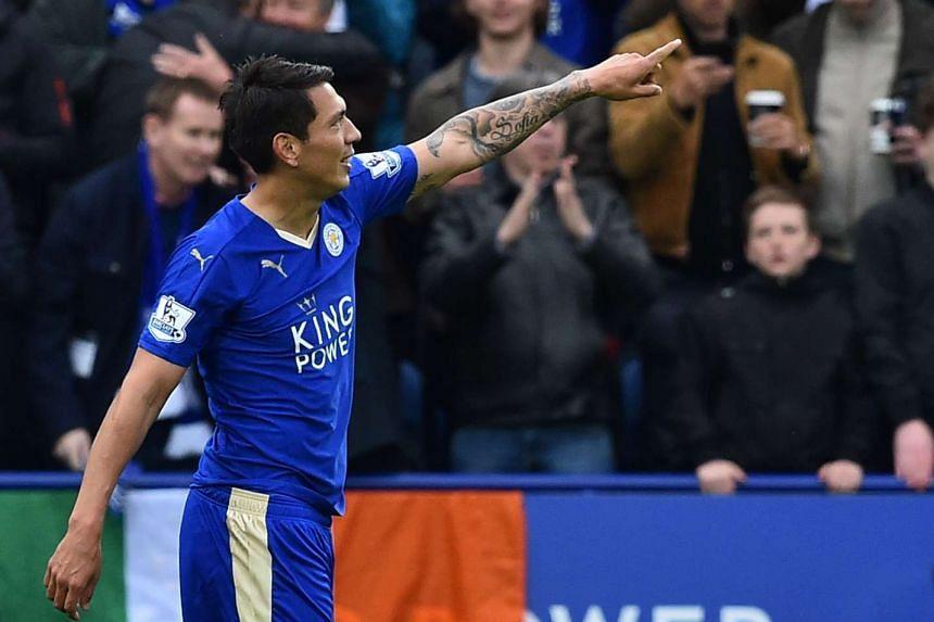 Leicester City's Argentinian striker Leonardo Ulloa celebrates scoring his second goal on Sunday (April 24).