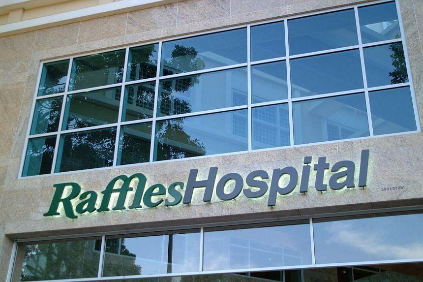 The Raffles Hospital logo, operated by Raffles Medical Group Ltd.