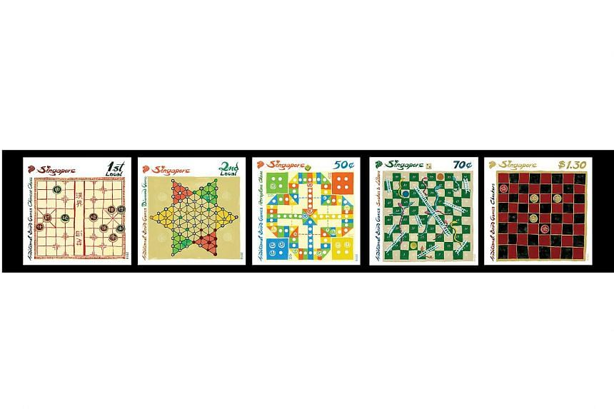 The traditional board games stamp set that SingPost will be launching on April 27, 2016.