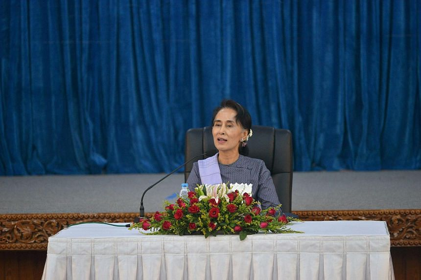Democracy leader and newly installed Myanmar foreign minister Aung San Suu Kyi meeting with diplomats at the Ministry of Foreign Affairs in Naypyidaw, on April 22, 2016.