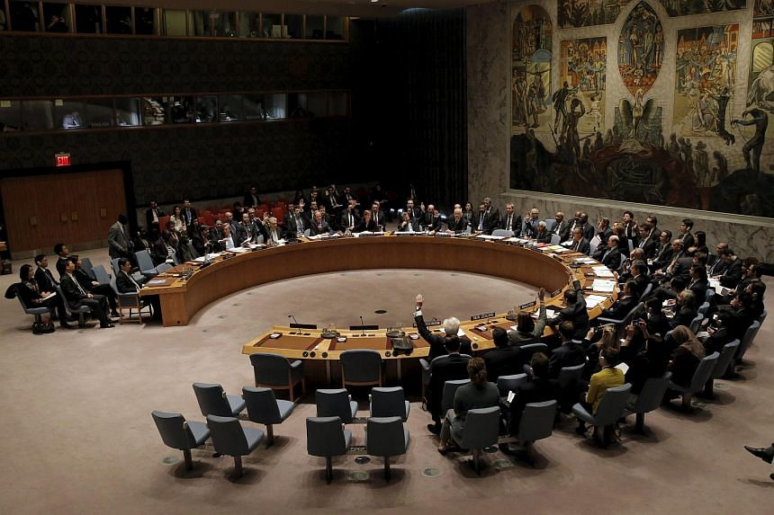 The United Nations Security Council votes to approve a resolution that to tighten existing restrictions on North Korea in New York, on March 2, 2016.
