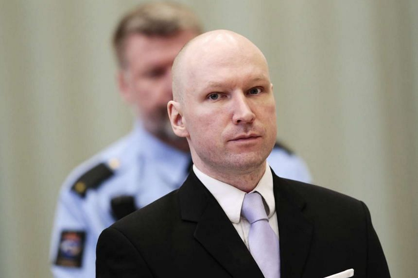 Convicted mass killer Anders Behring Breivik attending the last day in court in Skien prison, Norway, on March 18, 2016.
