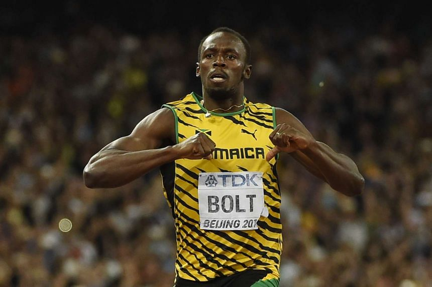 Usain Bolt celebrating after winning the men's 200m athletics event at the 2015 IAAF World Championships on Aug 27, 2015, in Beijing.