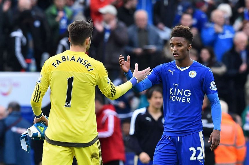 Leicester City's Demarai Gray (right) at the English Premier League football match against Swansea, on April 24, 2016.