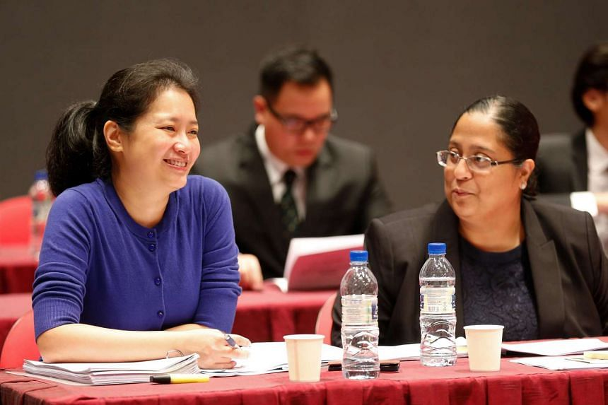 Assistant professors Jaclyn Neo (left) and Swati Jhaveri at the Constitutional Commission hearing on elected presidency on April 26, 2016.