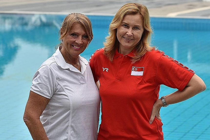 "Canadian consultant and synchronised swimming coach Julie Sauve (left) with Singapore coach Maryna Tsimashenka. Sauve sees ""good potential"" in the Republic's team."