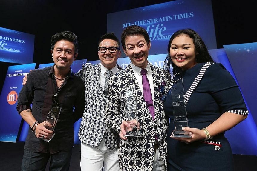 (From left) Adrian Pang, Glen Goei, Ivan Heng and Siti Khalijah Zainal showing off their trophies at the M1-The Straits Times Life Theatre Awards held at the Esplanade Recital Studio yesterday. The annual awards honour the best Singaporean plays from