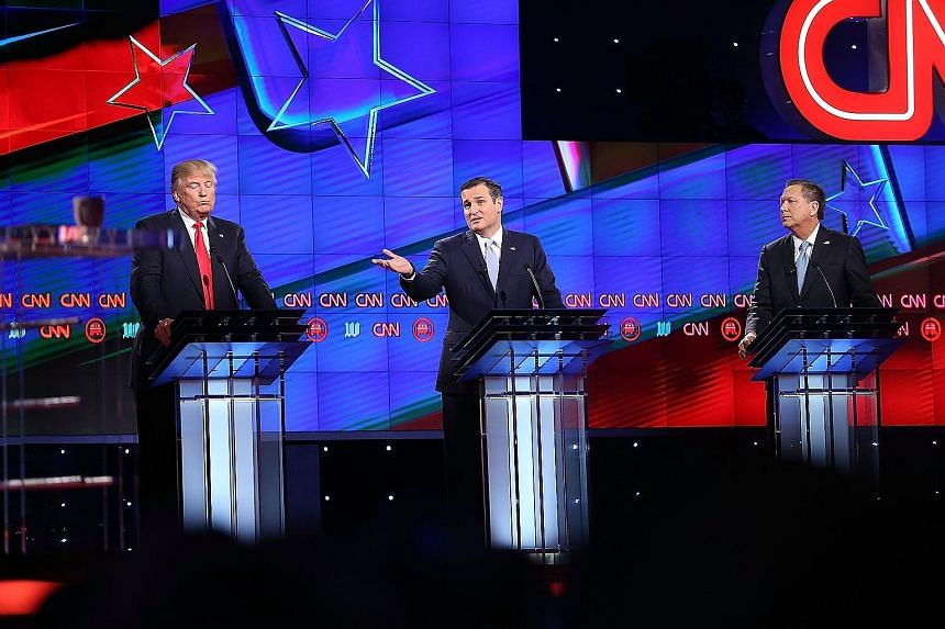 Republican presidential hopefuls (from left) Donald Trump, Ted Cruz and John Kasich during their debate in March ahead of the Florida primary.