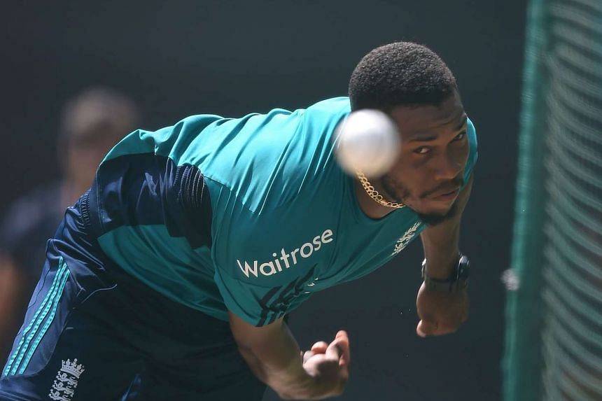 England's Chris Jordan bowls in nets during a training session in New Delhi, on March 29, 2016.