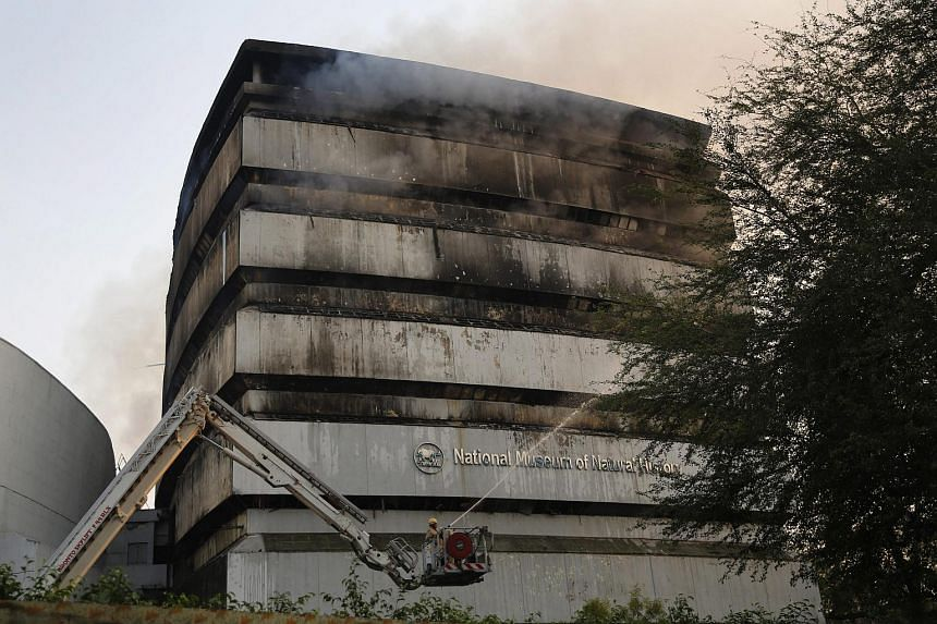 Firefighters trying to extinguish a fire that broke out in the National Museum of Natural History in the Federation of Indian Chambers of Commerce and Industry complex in New Delhi, India, on April 26, 2016.