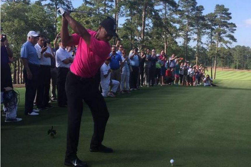 Tiger Woods plays a ceremonial opening tee shot at Bluejack National Golf Course, on April 26, 2016.