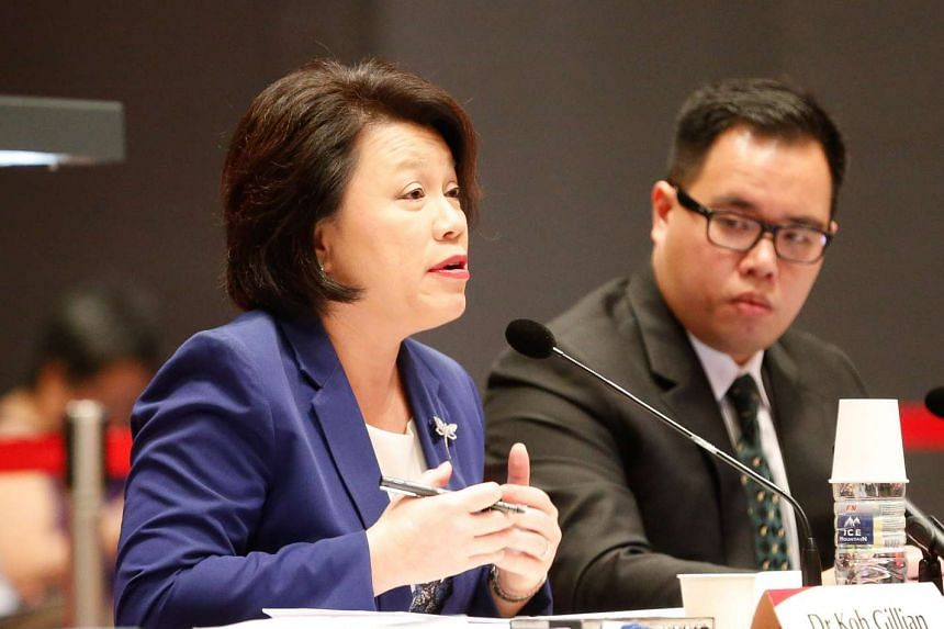 Institute of Policy Studies (IPS) deputy director for research Gillian Koh (left) and IPS researcher Tan Min-Wei at the third public hearing on proposed changes to the elected presidency on April 26, 2016.