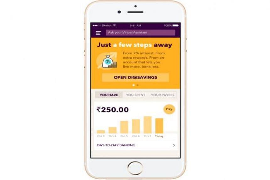 A screengrab of digibank, India's first mobile-only bank, launched on April 26, 2016.