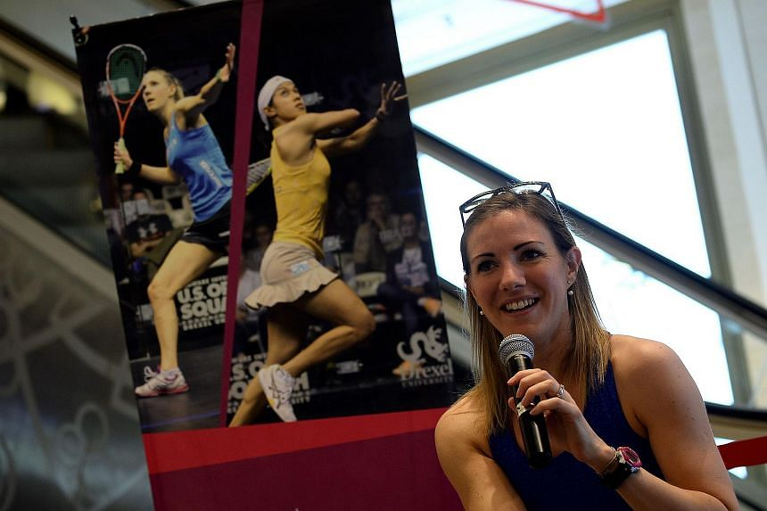 World No. 1 Laura Massaro of England speaks during a promotional event in Kuala Lumpur, on April 23, 2016.