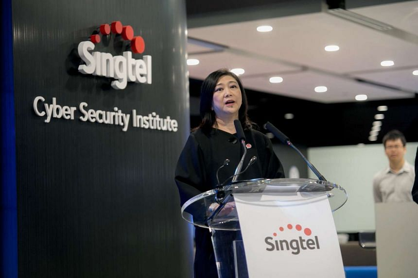 Singtel Group CEO Chua Sock Koong speaking at the launch of the Singtel Cyber Security Institute.