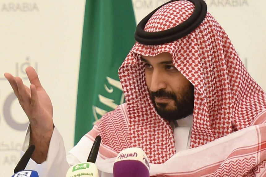 Saudi Defence Minister and Deputy Crown Prince Mohammed bin Salman gestures during a press conference in Riyadh, on Monday (April 25).