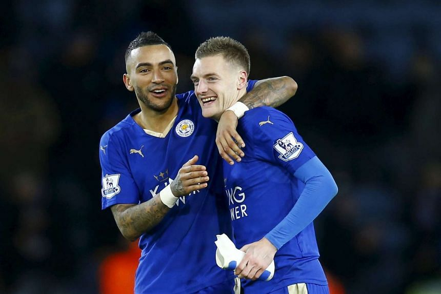 Leicester City's Jamie Vardy (left) with with Danny Simpson.